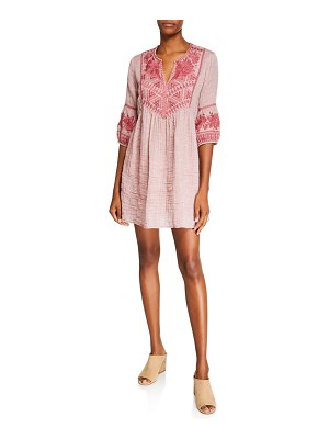 Johnny Was Josiane Embroidered 3/4-Sleeve Tunic Gauze Dress