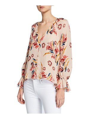 Joie Boyana Floral-Print V-Neck Long-Sleeve Silk Top