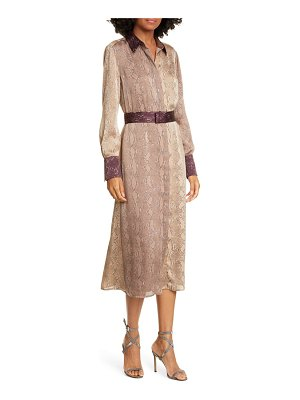 Equipment christabella snake print long sleeve shirtdress
