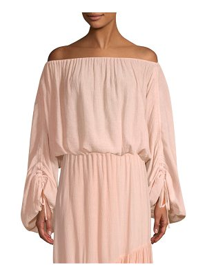 Joie elazara textured off-the-shoulder smocked top