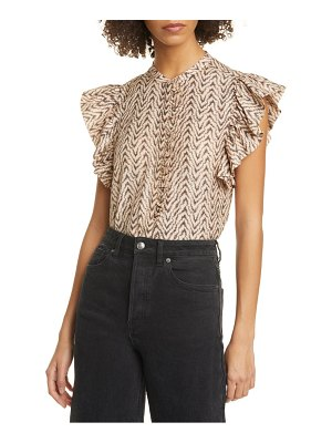 Joie gabriana flutter sleeve cotton & silk top