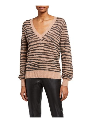 Joie Inira Tiger Stripe V-Neck Sweater
