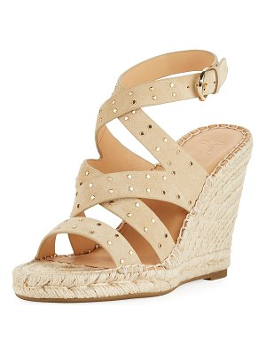 Joie Korat Studded Suede Crisscross Wedge Espadrille Sandals