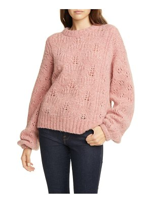 Joie lihui pointelle detail balloon sleeve wool & alpaca sweater