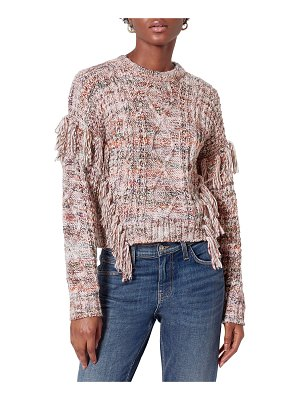 Joie Meghan Fringe Trim Cable-Knit Sweater