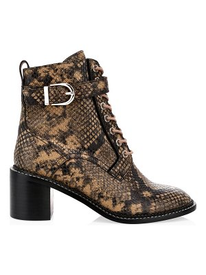 Joie raster block-heel python-embossed leather combat boots