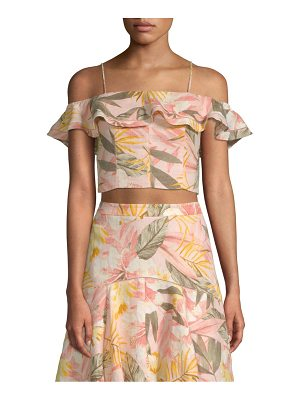 Joie saphira linen cold-shoulder smocked crop top