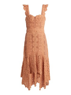 Jonathan Simkhai Cotton Macramé Lace Handkerchief Hem Dress