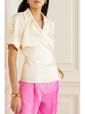 Jonathan Simkhai kelsey hammered-satin wrap top