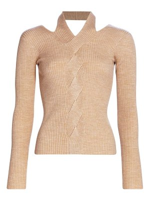 Jonathan Simkhai leah ribbed cable knit wool-blend sweater
