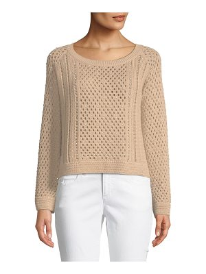 Jonathan Simkhai Long-Sleeve Pearlescent Crochet Pullover Sweater