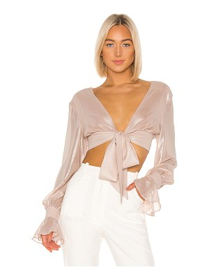 Jonathan Simkhai metallic chiffon crop top