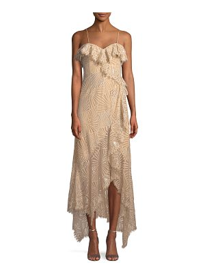 Jonathan Simkhai Metallic Sleeveless Ruffle Asymmetric Dress