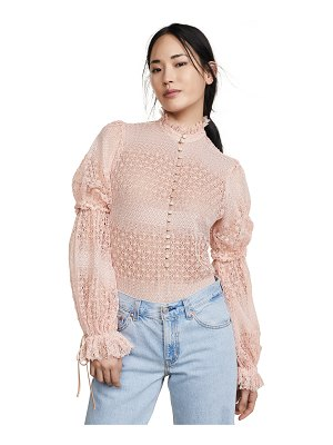 Jonathan Simkhai mixed knit puff sleeve bodysuit
