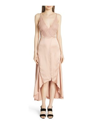 JONATHAN SIMKHAI Mixed Trim Satin Handkerchief Dress