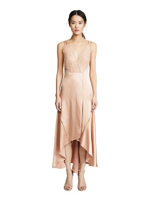 Jonathan Simkhai mixed trim silk handkerchief dress