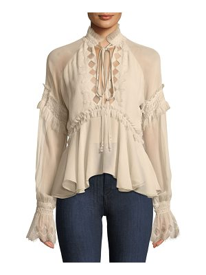 Jonathan Simkhai Silk Blouson-Sleeve Top with Lace