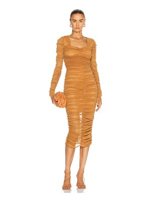 JONATHAN SIMKHAI STANDARD long sleeved ruched midi dress
