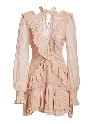 Jonathan Simkhai striped georgette ruffled long-sleeve dress