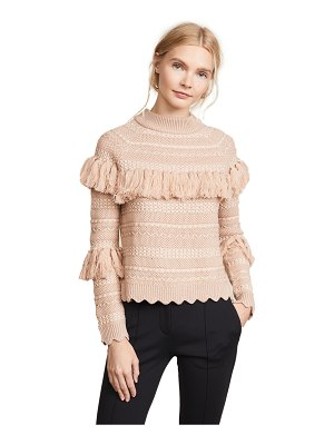Jonathan Simkhai wool tassel knit crew neck sweater