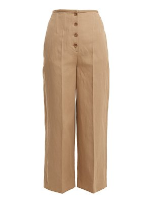 Joseph high rise wide leg cotton blend trousers