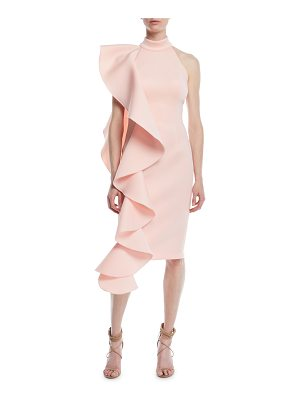 JOVANI Asymmetric Scuba Ruffle Dress