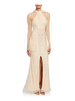 Jovani Beaded Open-Back Front-Slit Halter Gown