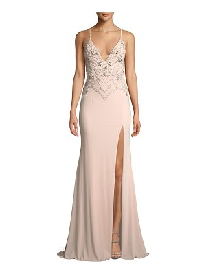 Jovani Beaded Plunge-Neck Crepe Gown Dress w/ High Slit