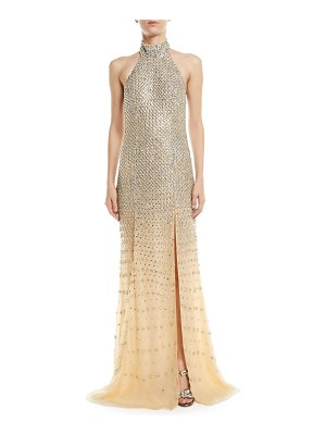 Jovani Fully Beaded Halter Gown