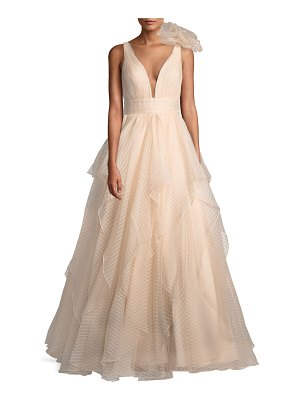 Jovani Lace Ball Gown w/ 3D Shoulder Detail