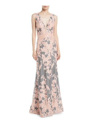 Jovani Plunging Floral Brocade Gown