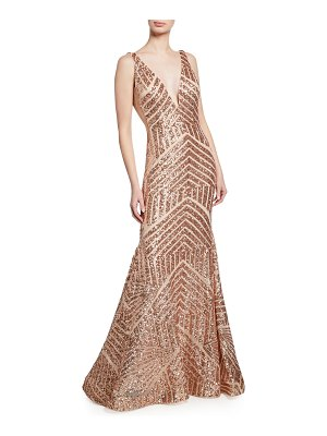 Jovani Sequin Geometric Deep V-Neck Sleeveless Mermaid Gown