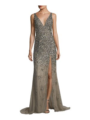 JOVANI Sequined Deep V-Neck Evening Gown
