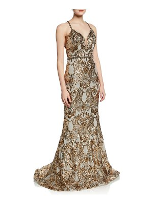 Jovani Sequined V-Neck Cross-Back Gown