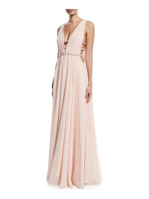 Jovani Sleeveless V-Neck Gown w/ Lattice Details