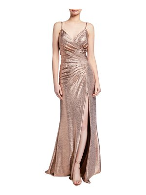 Jovani Spaghetti-Strap High-Slit Metallic Gown