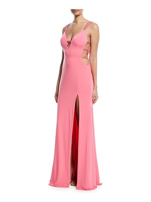 Jovani Strappy Plunging-Neck High-Slit Gown