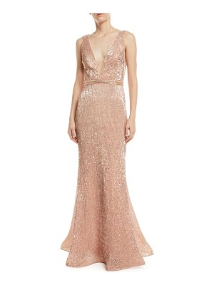 Jovani Stretch Sequin V-Neck Gown