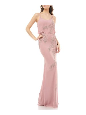 JS Collections beaded blouson mermaid gown