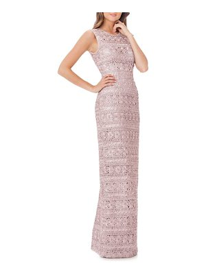 JS COLLECTIONS Cutout Back Soutache Gown