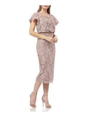 JS Collections embroidered lace blouson cocktail dress