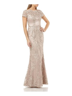 JS Collections embroidered mermaid gown