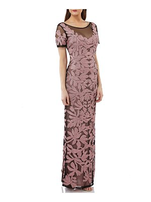 JS Collections illusion yoke short sleeve soutache gown