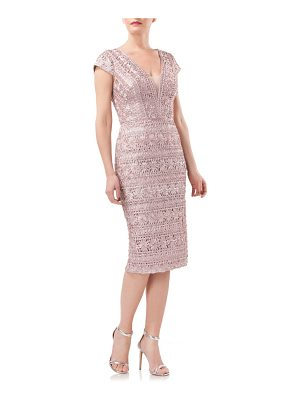 JS COLLECTIONS Mesh Inset Soutache Sheath Dress