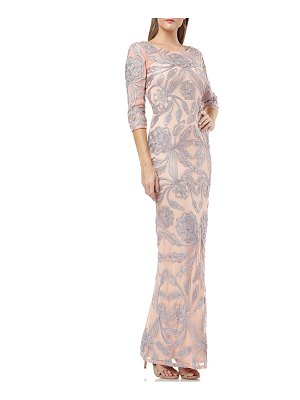 JS Collections metallic soutache lace evening dress