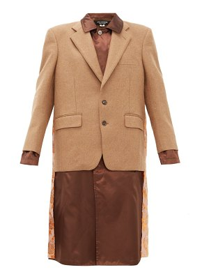 Junya Watanabe embroidered satin panel wool blend blazer coat