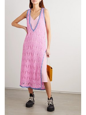 J.w.anderson layered two-tone crocheted cotton and crepe de chine maxi dress