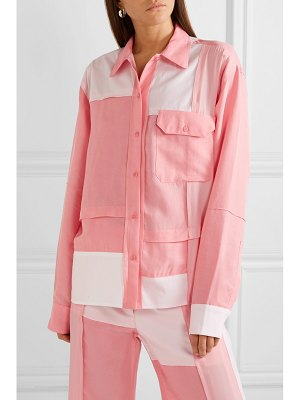 J.w.anderson oversized patchwork cotton, brushed-twill and crepe de chine shirt