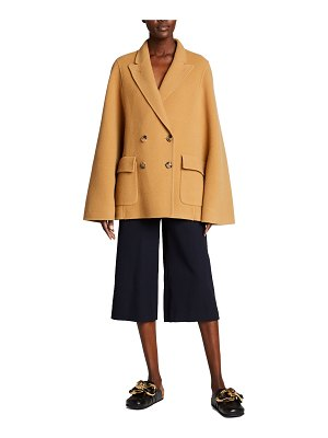 J.w.anderson Solid Wool Double-Breasted Cape Jacket