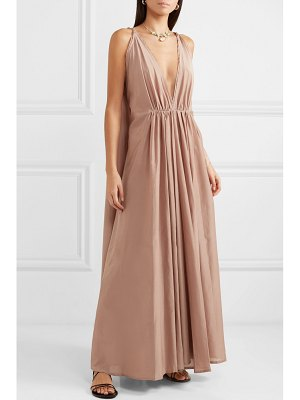 KALITA clemence gathered cotton and silk-blend voile maxi dress